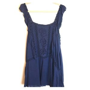 Free People One Blue Crochet Tunic Top Dress
